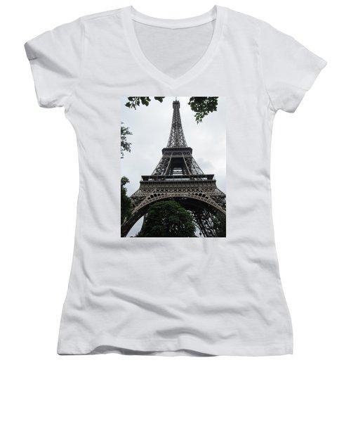 Women's V-Neck T-Shirt (Junior Cut) featuring the photograph Eiffel Tower by Pema Hou