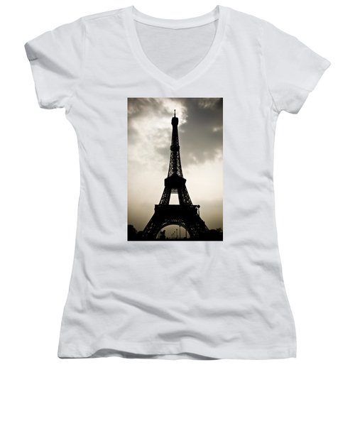Eiffel Tower Silhouette Women's V-Neck T-Shirt