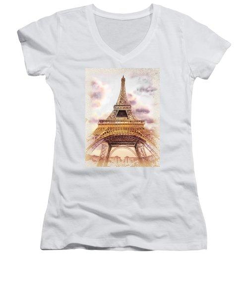 Eiffel Tower Vintage Art Women's V-Neck T-Shirt (Junior Cut) by Irina Sztukowski