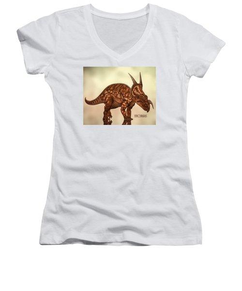 Einiosaurus Women's V-Neck T-Shirt (Junior Cut) by Bob Orsillo