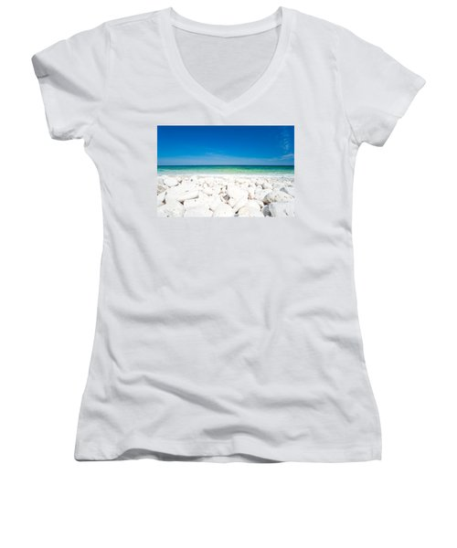 Elba - Capo Bianco  Women's V-Neck T-Shirt (Junior Cut) by Luciano Mortula