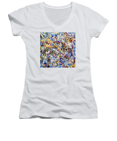 Women's V-Neck T-Shirt (Junior Cut) featuring the painting Eldorado by Dominic Piperata