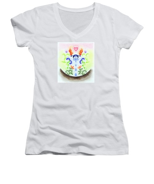 Women's V-Neck T-Shirt (Junior Cut) featuring the drawing Elements by Keiko Katsuta