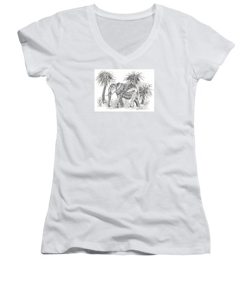 Elephant And Trees Zentangled Women's V-Neck (Athletic Fit)