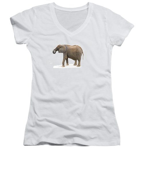 Women's V-Neck T-Shirt (Junior Cut) featuring the photograph Elephant by Charles Beeler