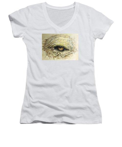 Women's V-Neck T-Shirt (Junior Cut) featuring the painting Elephant Eye by Bernadette Krupa