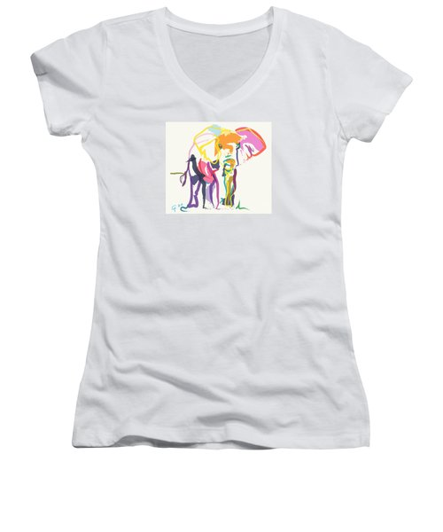 Women's V-Neck T-Shirt (Junior Cut) featuring the painting Elephant In Color Ecru by Go Van Kampen
