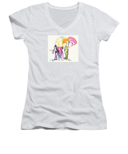 Elephant In Color Ecru Women's V-Neck T-Shirt