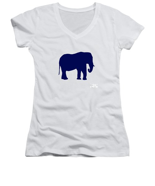 Elephant In Navy And White Women's V-Neck T-Shirt