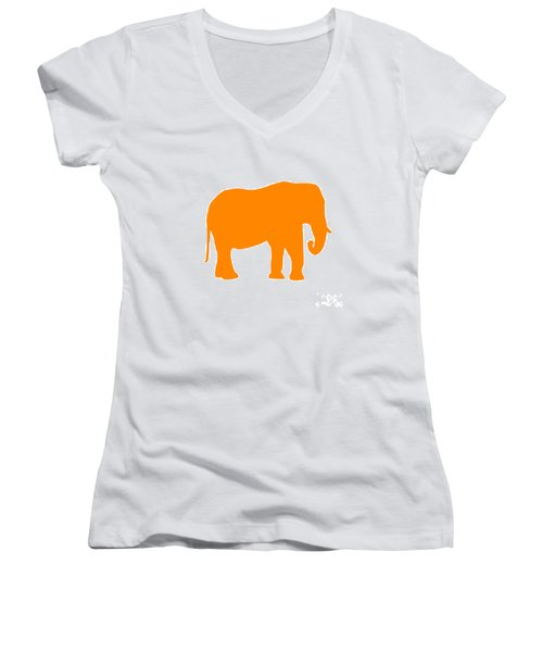 Elephant In Orange And White Women's V-Neck (Athletic Fit)