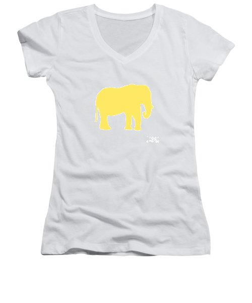 Elephant In Yellow And White Women's V-Neck (Athletic Fit)