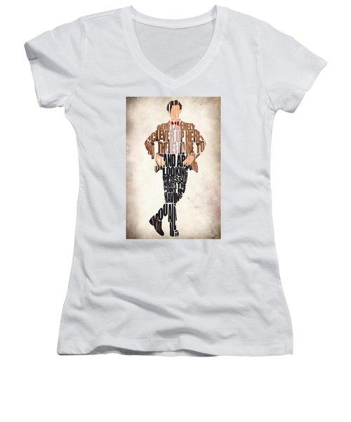 Eleventh Doctor - Doctor Who Women's V-Neck T-Shirt (Junior Cut) by Ayse Deniz