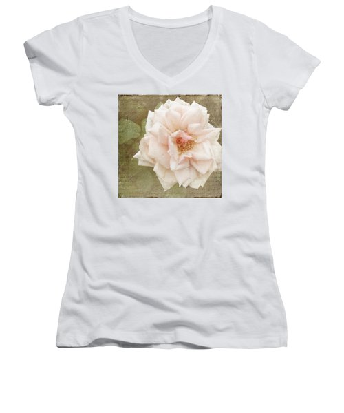 Elie Beauvillain Rose Textured Art Women's V-Neck