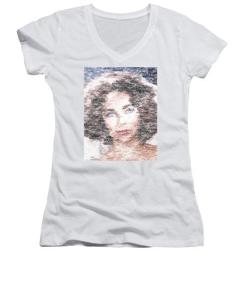 Elizabeth Taylor Typo Women's V-Neck T-Shirt (Junior Cut) by Taylan Apukovska