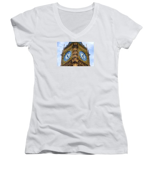Women's V-Neck T-Shirt (Junior Cut) featuring the photograph Elizabeth Tower Clock by Tim Stanley