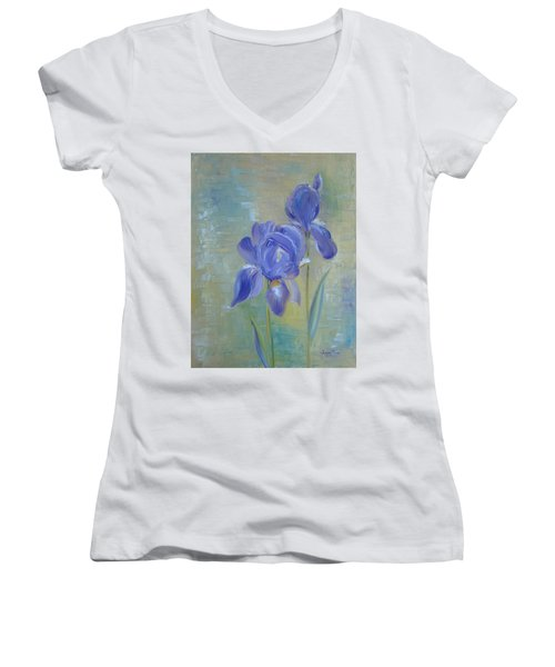 Elizabeth's Irises Women's V-Neck T-Shirt (Junior Cut) by Judith Rhue