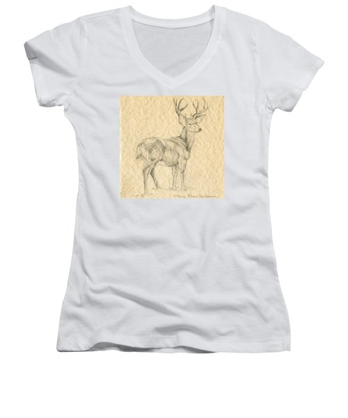 Women's V-Neck T-Shirt (Junior Cut) featuring the drawing Elk by Mary Ellen Anderson