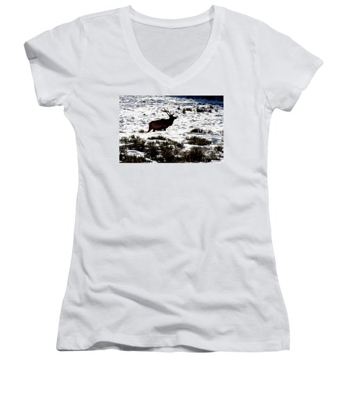 Women's V-Neck T-Shirt (Junior Cut) featuring the photograph Elk Silhouette by Sharon Elliott