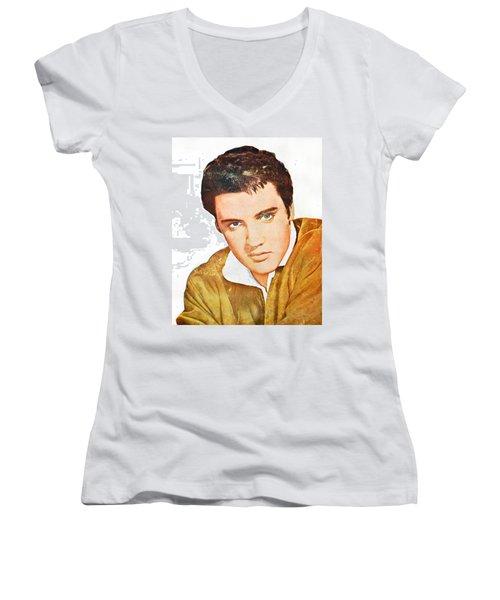 Elvis Colored Portrait Women's V-Neck T-Shirt (Junior Cut) by Gina Dsgn
