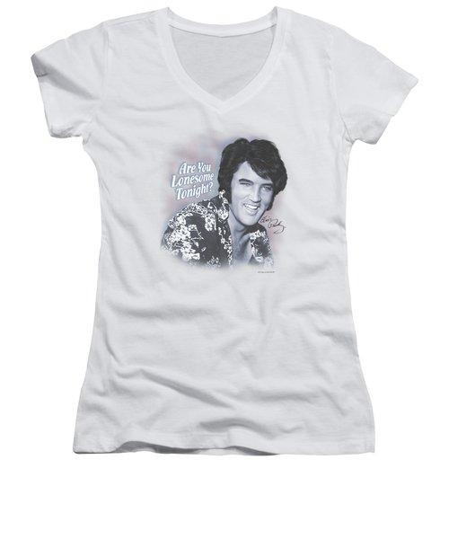 Elvis - Lonesome Tonight Women's V-Neck (Athletic Fit)