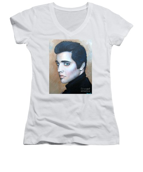 Women's V-Neck T-Shirt (Junior Cut) featuring the painting Elvis by Patrice Torrillo