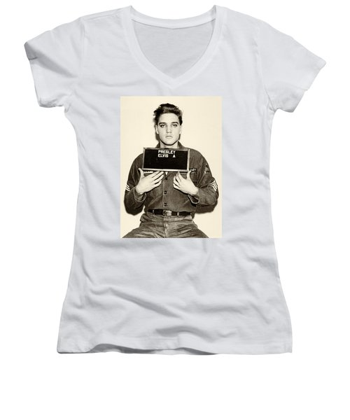 Women's V-Neck featuring the photograph Elvis Presley - Mugshot by Digital Reproductions