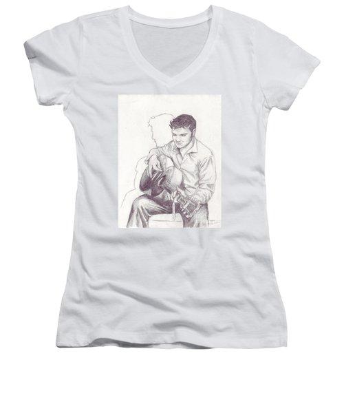 Elvis Sketch Women's V-Neck (Athletic Fit)