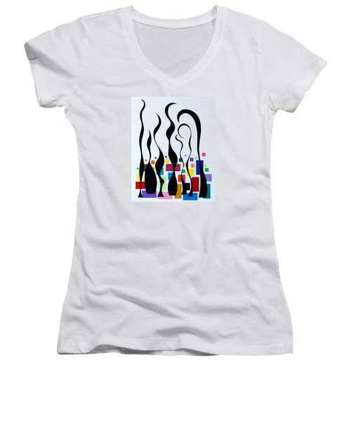 Women's V-Neck T-Shirt (Junior Cut) featuring the painting Embracing by Thomas Gronowski