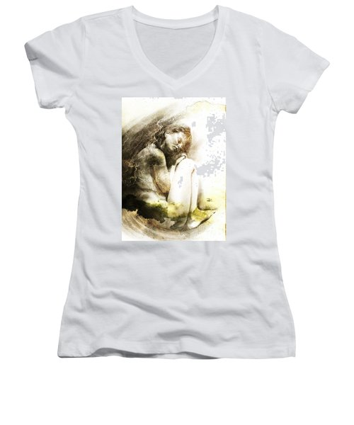Women's V-Neck T-Shirt (Junior Cut) featuring the drawing Embryonic Drawing Textured by Paul Davenport