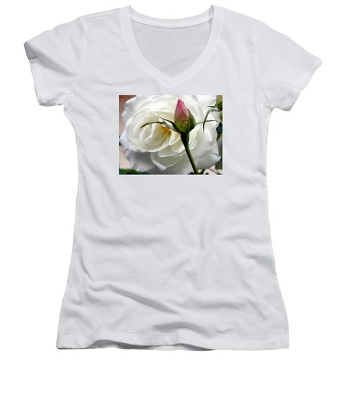 Women's V-Neck T-Shirt (Junior Cut) featuring the photograph Emergence by Deb Halloran