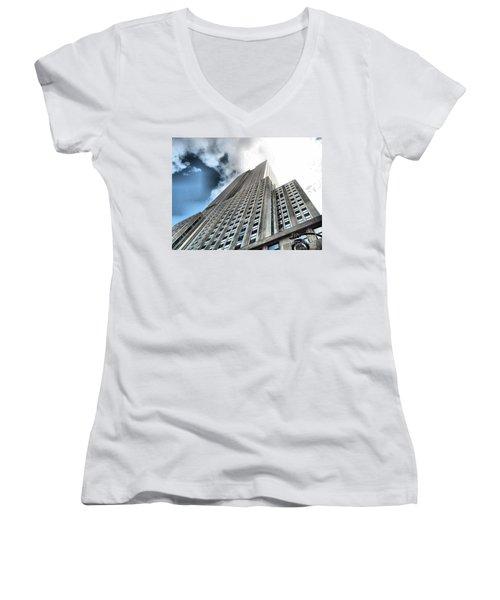 Empire State Building - Vertigo In Reverse Women's V-Neck (Athletic Fit)