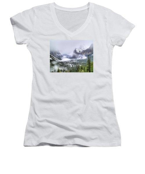 Enchanted Valley Women's V-Neck T-Shirt (Junior Cut) by Bill Gallagher