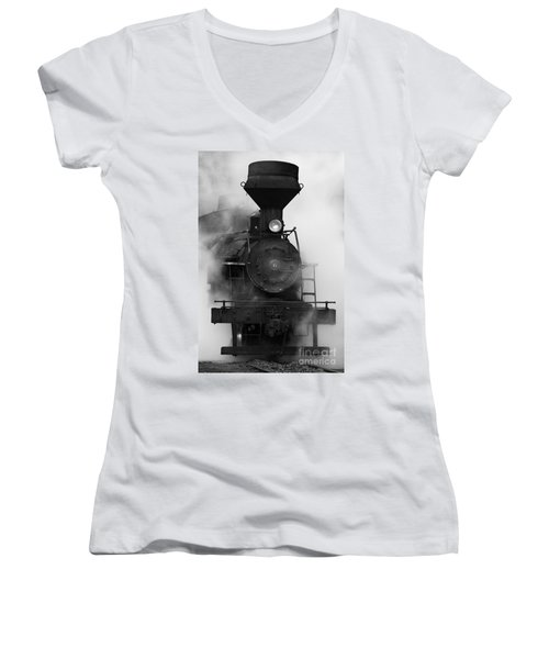 Women's V-Neck T-Shirt (Junior Cut) featuring the photograph Engine No. 6 by Jerry Fornarotto