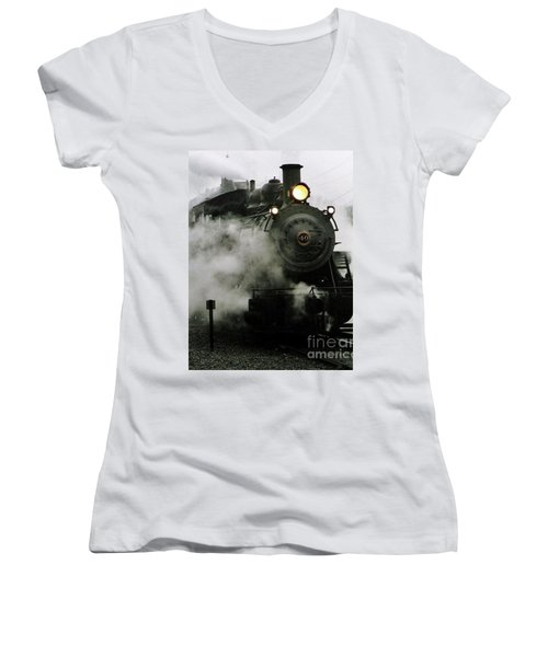 Engine Number 40 Making Steam Pulling Into New Hope Passenger Train Terminal Women's V-Neck T-Shirt (Junior Cut) by Michael Hoard