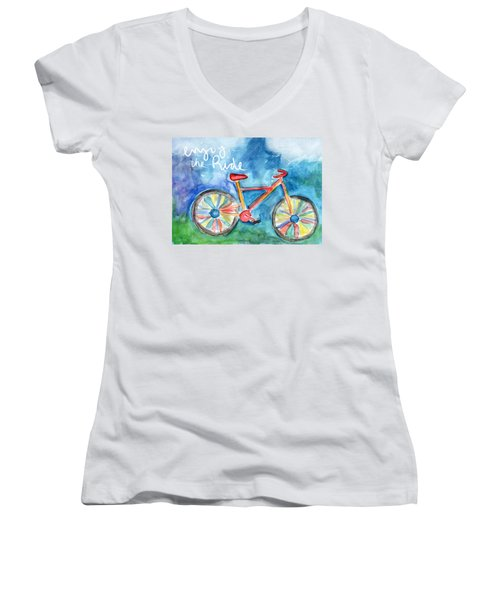 Enjoy The Ride- Colorful Bike Painting Women's V-Neck