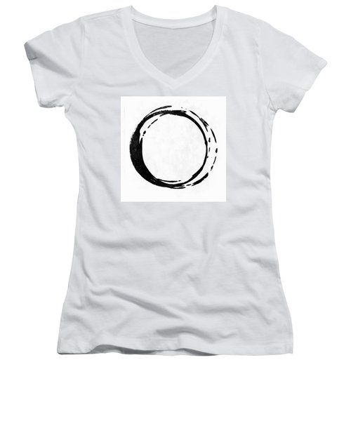 Enso No. 107 Black On White Women's V-Neck T-Shirt (Junior Cut)