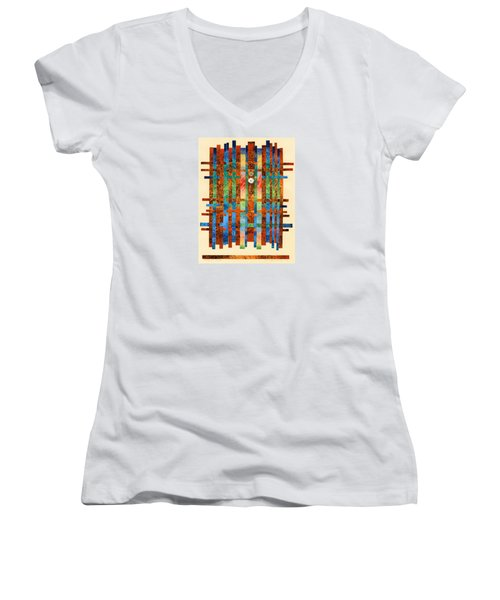 Entering The Temple Women's V-Neck T-Shirt (Junior Cut) by Lynda Hoffman-Snodgrass