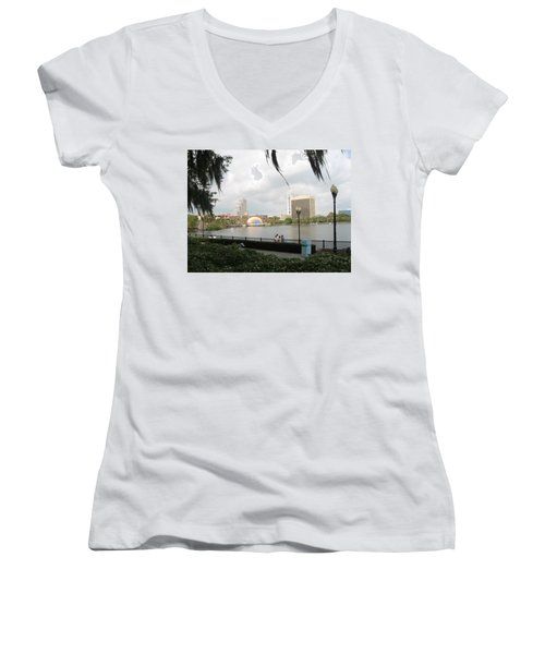 Eola Park In Orlando Women's V-Neck T-Shirt