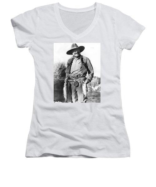 Ernest Hemingway Fishing Women's V-Neck