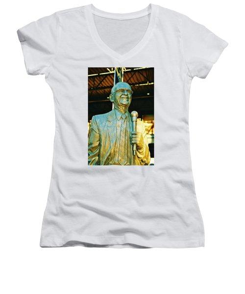Ernie Harwell Statue At The Copa Women's V-Neck T-Shirt (Junior Cut) by Daniel Thompson