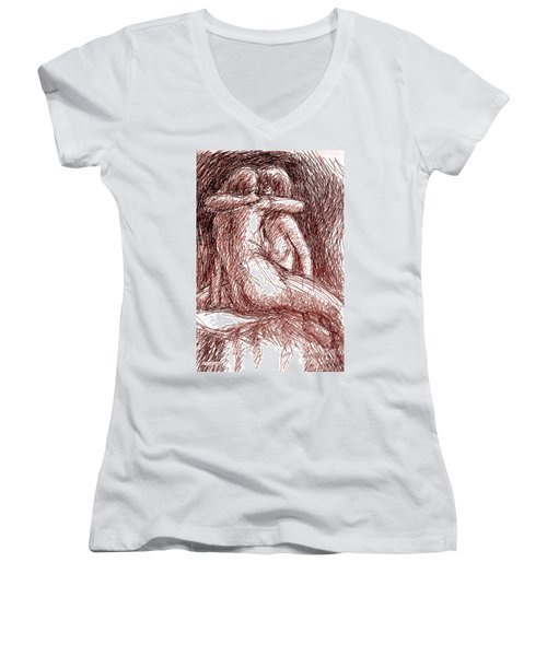 Erotic Drawings 19-2 Women's V-Neck