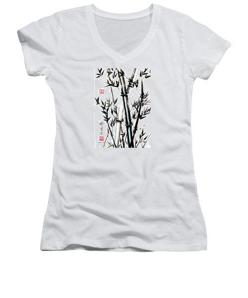 Women's V-Neck T-Shirt (Junior Cut) featuring the painting Essence Of Strength by Bill Searle