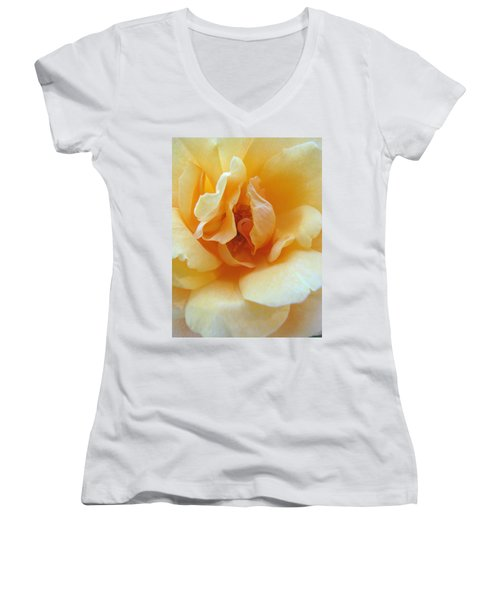 Lightness Of Being - Yellow Rose Macro -floral Art From The Garden Women's V-Neck (Athletic Fit)