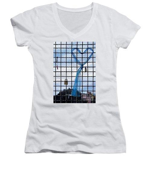 Women's V-Neck T-Shirt (Junior Cut) featuring the photograph Eternal Love by Jennie Breeze