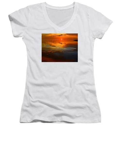 Evening Fishing Women's V-Neck T-Shirt