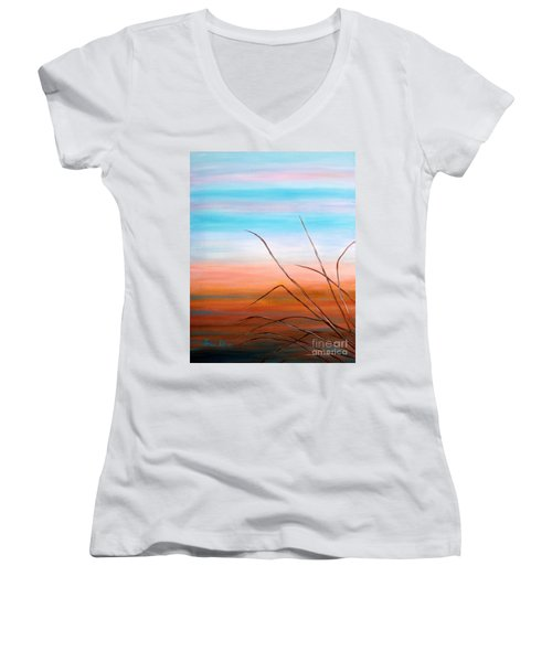 Women's V-Neck T-Shirt (Junior Cut) featuring the painting Evening Sky. Soul Collection by Oksana Semenchenko