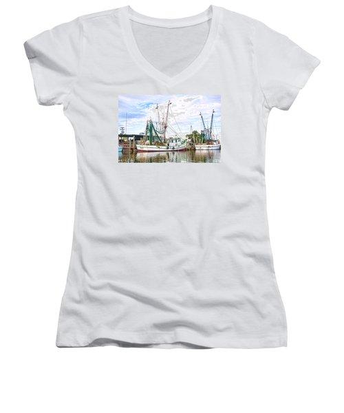 Evening Tide Women's V-Neck T-Shirt (Junior Cut) by Scott Hansen