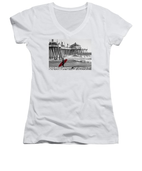 Existential Surfing At Huntington Beach Selective Color Women's V-Neck