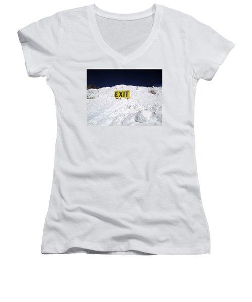 Exit Women's V-Neck T-Shirt (Junior Cut) by Fiona Kennard
