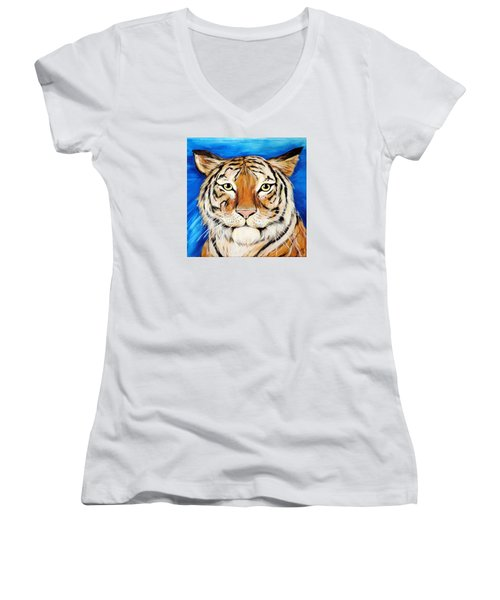 Eye Of The Tiger Women's V-Neck (Athletic Fit)